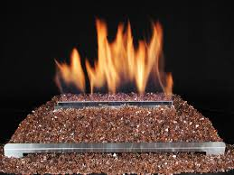 ventless glass fire gas fireplace with highly reflective crushed copper glass