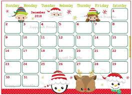 Cute Calendar Template Adorable Calendar December 44 Cute Christmas Planner Printable Etsy