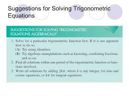 17 suggestions for solving trigonometric equations