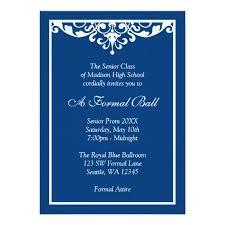 Royal Blue Flourish Formal Prom Dance Ball Invitation Card