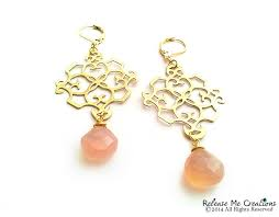 peachy pink chalcedony gold filigree chandelier earrings image