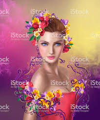 美しいファンタジーフェアリー女性ヘアスタイルの花