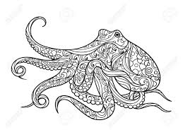 octopus sea coloring book for s vector ilration stock vector 54454871