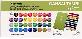Gansai Tambi Color Chart Zig Kuretake Gansai Tambi 36 Set Assorted Colors Other Multicoloured 32 25 X 20 32 X 2 03 Cm