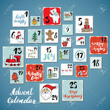 Card Calendar Design Christmas Advent Calendar Hand Drawn Elements And Numbers Winter