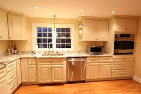 Antique White Kitchen How To Antique Glaze White Kitchen Cabinets Monsterlune