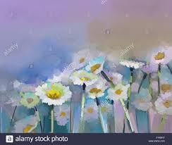 abstract oil painting white flowers field in soft color oil paintings white gerbera daisy flower in the meadows