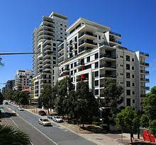Modern apartment complex in St Leonards, Sydney, Australia