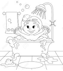 浴室の女の子塗り絵の黒と白のイラスト