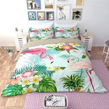 asda bird print duvet cover pink flamingo green set animal flower leaves printed bedding king cute