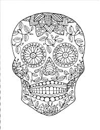 Small Picture Sugar Skull Coloring Page to Print and Color Adult Coloring Page