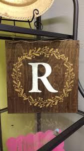 wood monogram wall decor inspirational laurel wreath monogram letter vinyl stickers wall decals custom