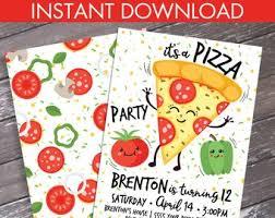 Pizza Party Invitation Templates Pizza Party Invite Etsy