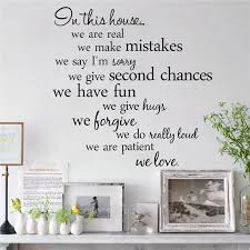in this house we are patient we love vinyl wall stickers letters living room indoor wall art decor diy removable decals large vinyl wall decals large wall  on adhesive wall art letters with in this house we are patient we love vinyl wall stickers letters