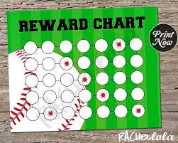 Baseball Charts Printable Baseball Reward Chart For Kids Printable Instant Digital