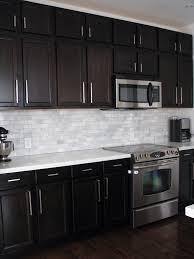 Kitchen With Dark Cabinets Dark Birch Kitchen Cabinets With Shining White Quartz Counters And