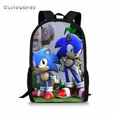 <b>ELVISWORDS Fashion Kids</b> Backpack Sonic Prints Children'S ...