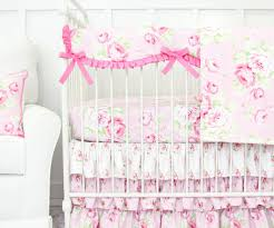... Large-size of Contemporary Shabby Rose Vintage Floral Bumperless Crib  Bedding Set Shabby Bumperless Ruffle ...