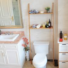 Shelf Over Toilet Washing Machine Bamboo For Bathroom Storage 2 Tier With Slatted Holder 173cm Large
