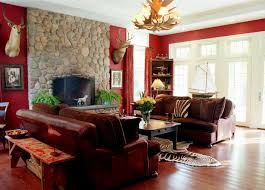 red living room design indian style