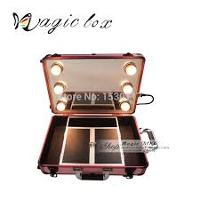 portable makeup case with lights full mirror professional makeup box with removable trolley case in cosmetic