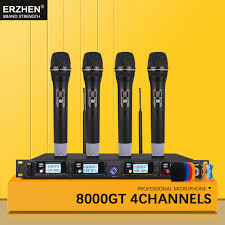 ERZHENProfessional <b>wireless microphone system</b> UHF4 channel ...