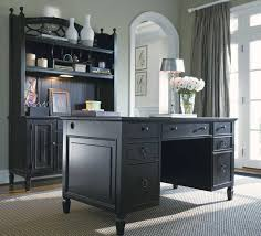 small home office design painted with white wall interior color decor combined with black desk with hutch and drawer furniture storage ideas