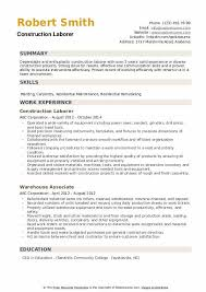 Example Of Construction Resume Construction Laborer Resume Samples Qwikresume