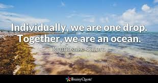 Quotes About Ocean Cool Individually We Are One Drop Together We Are An Ocean