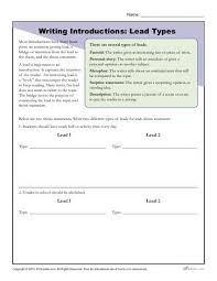 Writing Introductions How To Write An Introduction Lead Types Worksheet Activity