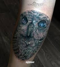 фото татуировки сова в стиле реализм татуировки на икре