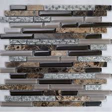 brown stone with crystal mosaic tile sheet backsplash wall stickers washroom bedroom kitchen k8836 300x330mm stone and glass blend mosaic tile