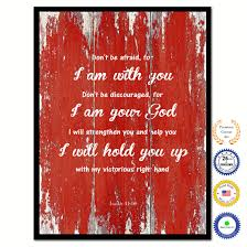 Dont Be Afraid For I Am With You Bible Verse Scripture Quote Red Canvas Print With Picture Frame