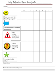 4th Grade Behavior Chart Classroom Management Behavior Chart For Daily Parent Communication
