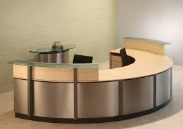 office furniture reception desk counter. Crescent Semi-circle Reception Desk With 2 Scratched Glass Counters Office Furniture Reception Desk Counter T