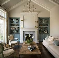 blue living room built ins