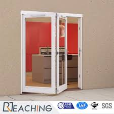 double pvc folding single tempered glass door manufacturer