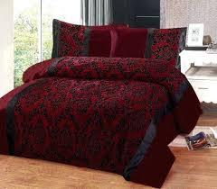 king size red bedding burgundy red black flock design in faux silk king  size duvet cover