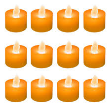 Candle Lights Home Depot Lumabase Orange Led Tealights Box Of 12