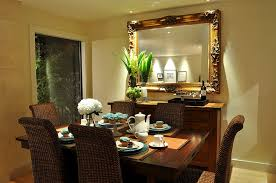 dining room wall decor with mirror. Dining Room Buffet Decorating Ideas With Large Antique Framed Mirror And Vase Wall Decor M
