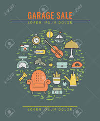 006 Garage Sale Flyer Template Free Ideas Vector Line Style