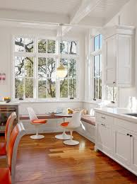 kitchen corner bench seating beautiful floor cool chairs windows wall  cabinet round top table laptop hanging