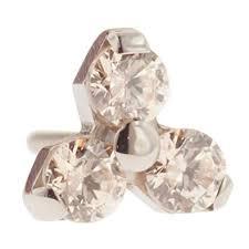 threadless anium multi faceted gem trinity end 18g high polish chagne gems