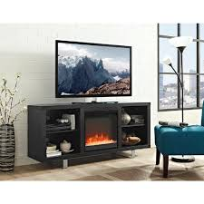 walker edison furniture company 58 in simple modern fireplace tv console in black