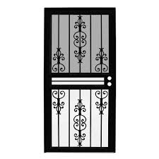 estate black recessed mount all season security door with insect screen and glass inserts idr0310036blk the home depot