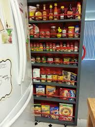 Diy Kitchen Pull Out Shelves Empty Space Next To The Fridge Make A Roll Out Pantry Empty