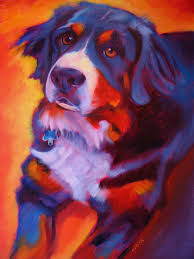 we looked at lots of colorful dog pictures and artwork like this painting below by kaytee esser blue dog paintings by george rodrigue and many more