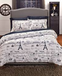 paris bedding or curtains comforter set black white shams new eiffel tower