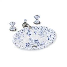 beautiful sherle wagner sinks in hand painted scalloped over edge basin shown and delft motif design