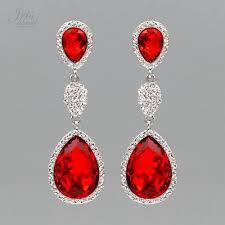 rhodium plated red crystal rhinestone chandelier drop dangle earrings 6860 party